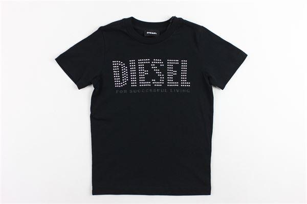t-shirt mezza manica tinta unita  con stampa DIESEL | T-shirts | 00J4GBNERO