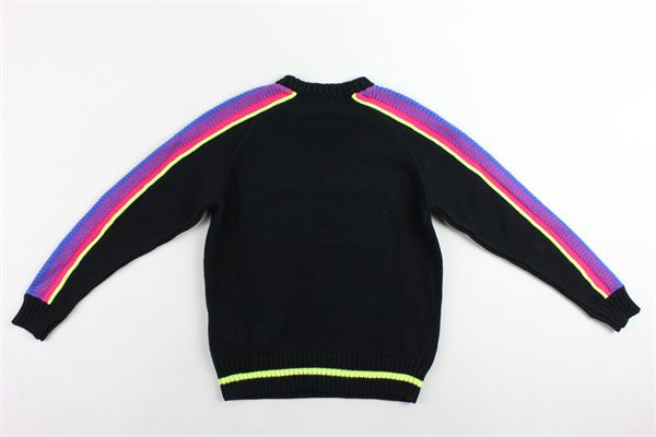 maglione in lana girocollo tinta unita con profili colorati e stampa diesel DIESEL | Maglie | 00J4GQNERO