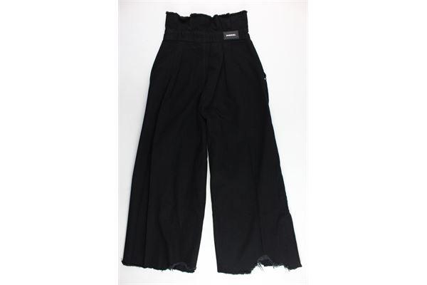 pantalone in denim vita alta tinta unita a palazzo DIESEL | Pantaloni | 00J4L0NERO