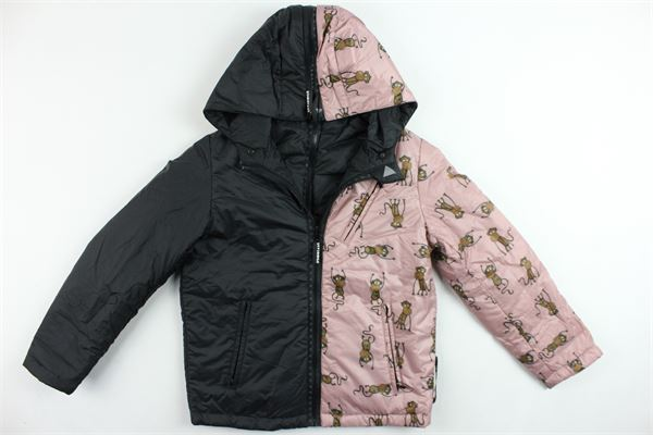 giubbino reversibile con cappuccio e zip bicolore con stampa monkey DIVISIBILE | Giubbini | IDIVJL255SROSA-NERO