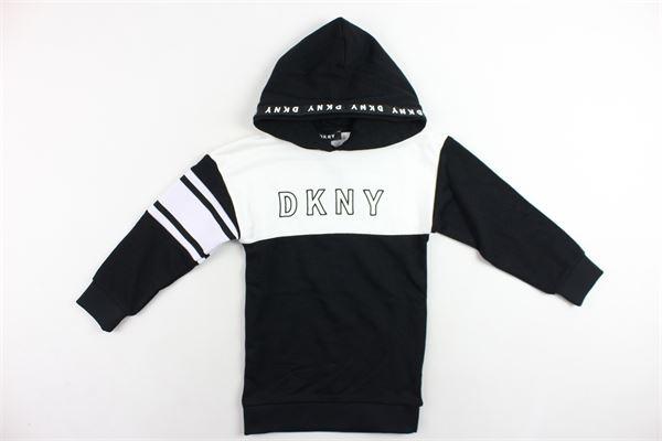 felpa lunga con cappuccio in felpa garzata bicolore con stampa DKNY | Felpe | D32718/09BNERO