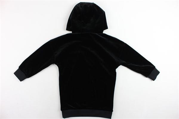 abito con cappuccio in velluto liscio tinta unita con stampa DKNY | Abiti | D32720/09BNERO