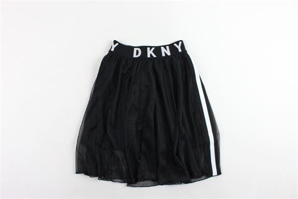 gonna tinta unita in velo conn profili loggati in contrasto DKNY | Gonne | D33547NERO