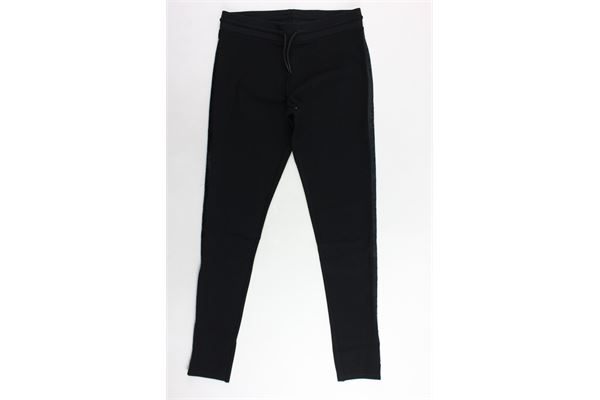 pantalone tuta tinta unita profili in ecopelle DKNY   Pantaloni   D34964/09BNERO
