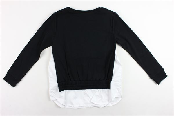 felpa girocollo tinta unita con profili in camicia DKNY   Felpe   D35Q27/09BNERO