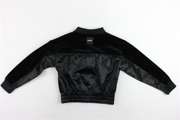 felpa con zip in velluto liscio e profili in ecopelle DKNY | Felpe | D35Q35/09BNERO