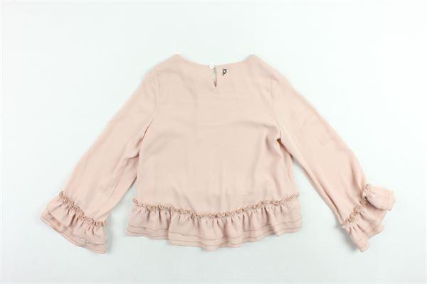 camicia manica lunga timnta unita con rouches DONDUP | Camicie | DFCA13GA35ROSA