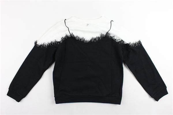 felpa girocollo bicolore con merletto DONDUP | Felpe | DFFE52JE151NERO