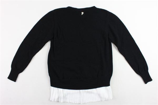 maglione girocollo tinta unita profili in camicia in contrasto DONDUP | Maglie | DFMA21FL98NERO