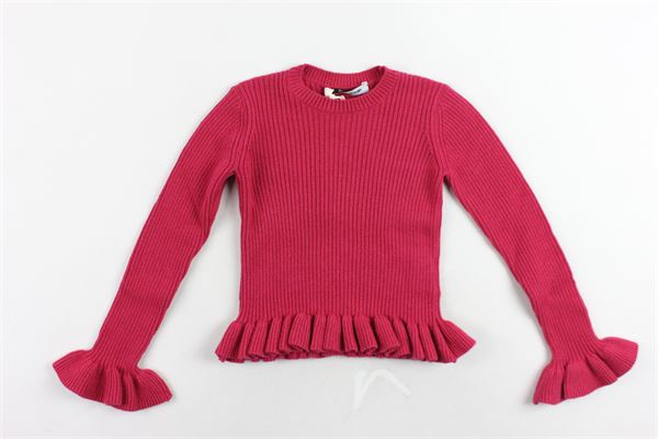 maglione girocollo tinta unita con rouches DONDUP | Maglie | DFMA23FL07FUCSIA
