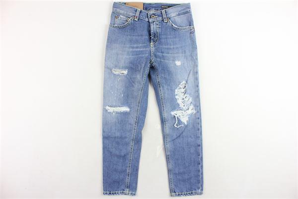 jeans 5 tasche tinta unita con strappi modello boyfriends DONDUP | Jeans | DMPA406DF159BAZZURRO