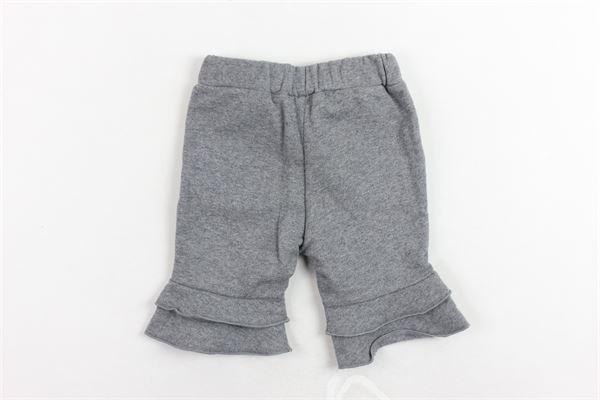 pantalone felpato tinta unita a zampa e rouches DOU DOU | Pantaloni | 208169GRIGIO