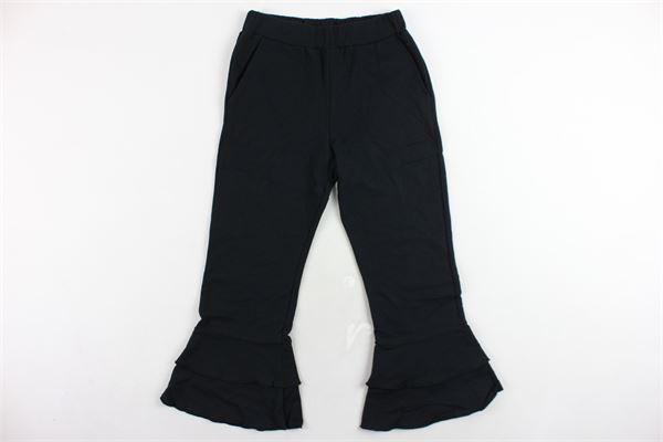 pantalone felpato tinta unita a zampa e rouches DOU DOU | Pantaloni | 208169NERO