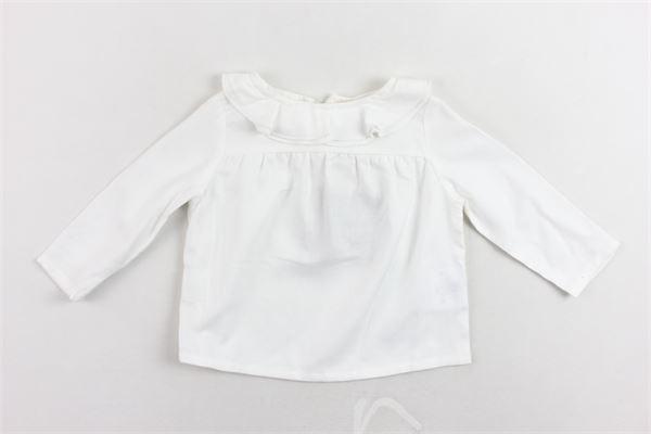 shirt manica lunga tinta unita collo in rouches DOU DOU | Shirts | 208213BIANCO