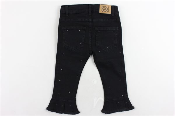 jeans 5 tasche a zampa con rouches e brillantini DOU DOU | Jeans | 208218NERO