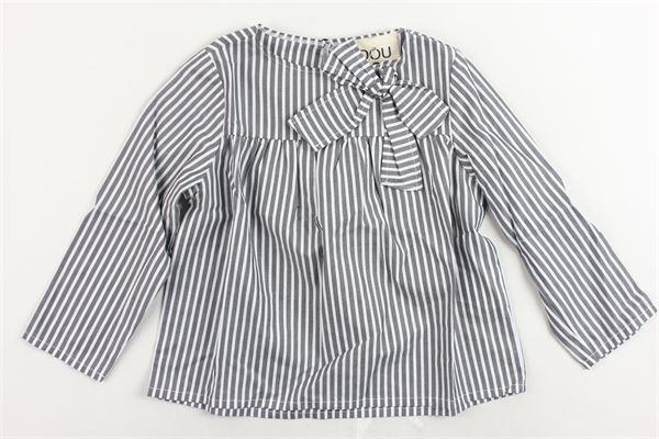 camicia manica lunga rigata con fiocco DOU DOU | Camicie | 208232BIANCO