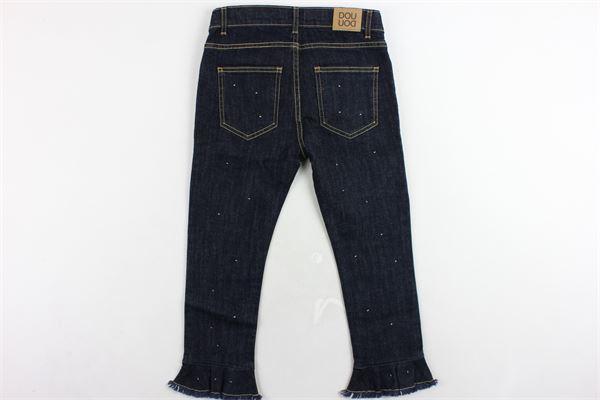 jeans 5 tasche a zampa con rouches e brillantini DOU DOU | Jeans | 288218106BLU