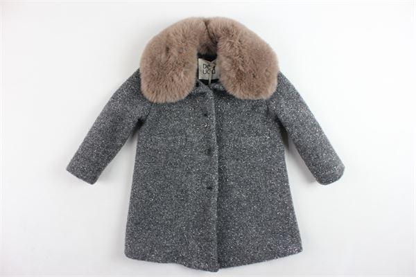 cappotto lungo tinta unita collo in pelliccia sintetica DOU DOU | Giubbini | UJRCS102018GRIGIO