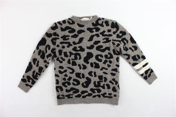 maglione maxi pull in lana con fantasia in contrasto DOU DOU | Maglie | UJRMA117042FANGO