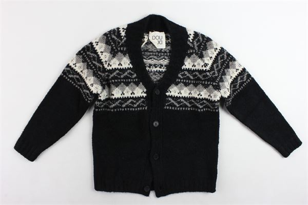 cardigan tinta unita profili in contrasto in lana e cotone DOU DOU | Maglie | UJRMA507042NERO