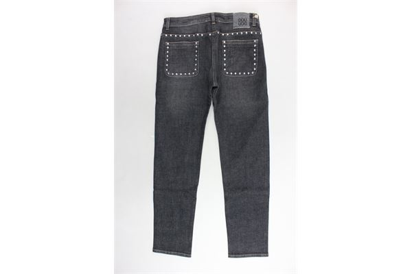 jeans 5 tasche tinta unita girovita regolabile con applicazioni DOU DOU | Jeans | UJRPJ011010GRIGIO