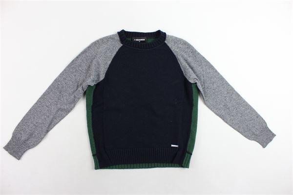maglione girocollo tinta unita maniche in contrasto DSQUARED | Maglie | DQ01SDD00KZDQ851BLU