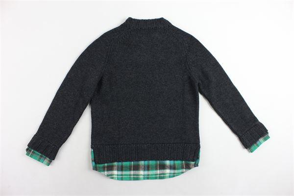 maglione girocollo tinta unita profili in camicia DSQUARED | Maglie | DQ01SHD00KXDQ905GRIGIO