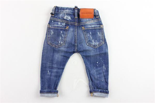 jeans 5 tasche tinta unita con finte toppe cavallo basso DSQUARED | Jeans | DQ01TCBLU