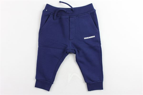 pantalone tuta felpato tinta unita con stampa DSQUARED | Pantaloni | DQ02FDBLU