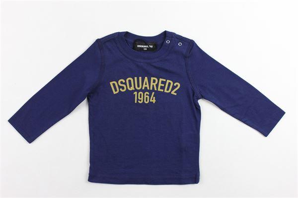 shirt manica lunga tinta unita con stampa DSQUARED | Shirts | DQ02FGBLU