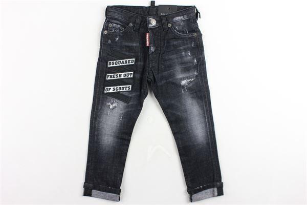 jeans 5 tasche tinta unita con strappi e stampa DSQUARED | Jeans | DQ02MDNERO