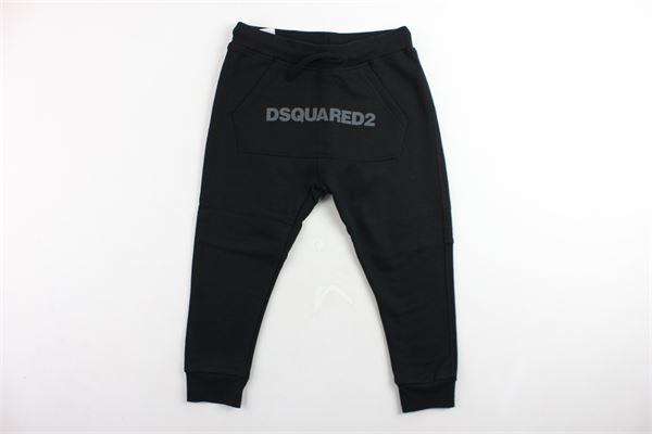 pantalone tuta felpato tinta unita con stampa cavallo basso DSQUARED | Pantaloni | DQ02WNNERO