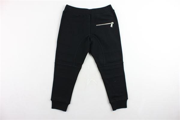 pantalone tuta felpato tinta unita con zip DSQUARED | Pantaloni | DQ02WPNERO
