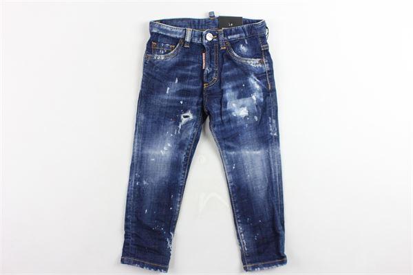 jeans 5 tasche tinta unita con strappi DSQUARED | Jeans | DQ039EBLU