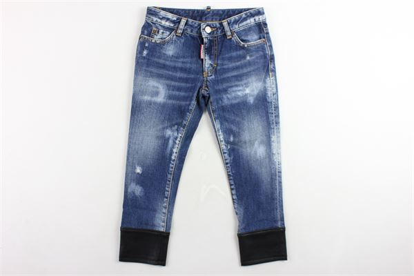 jeans 5 tasche tinta unita profili in ecopelle alle caviglie DSQUARED | Jeans | DQ03C2BLU
