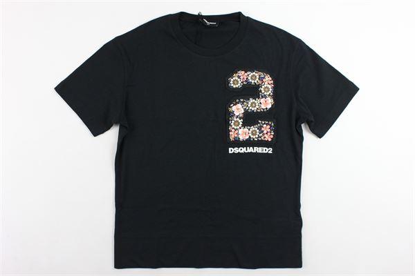 t-shirt mezza manica tinta unita con applicazione DSQUARED | T-shirts | DQ03CJD00ROID2T413NERO
