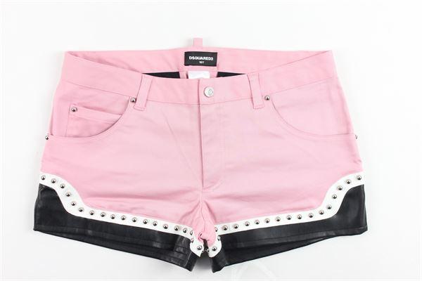shorts in denim con profili in ecopelle e applicazioni DSQUARED | Shorts | DQ03DLROSA