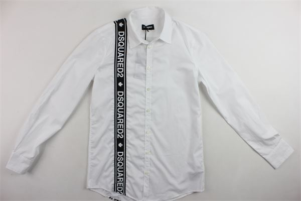 camicia in cotone manica lunga tinta unita profili in contrasto con stampa DSQUARED | Camicie | DQ03MPBIANCO
