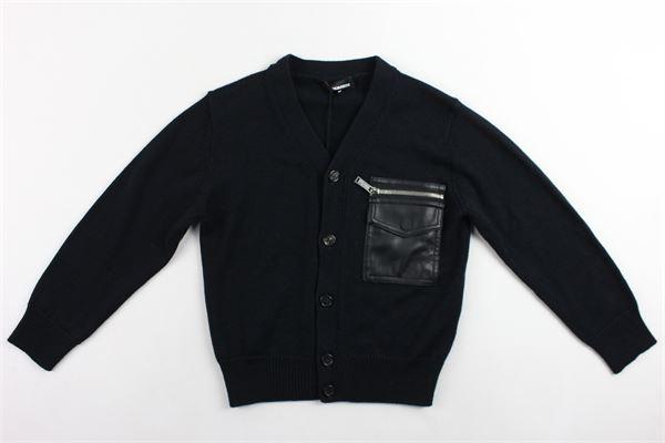 cardigan in lana tinta unita con taschino e zip DSQUARED | Maglie | DQ03MSNERO
