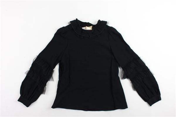 camicia manica lunga tinta unita profili in tulle alle maniche ELISABETTA FRANCHI | Camicie | EFCA42NERO