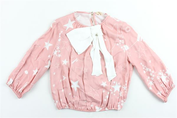 camicia manica lunga stampa stelle e applicazione fiocco ELISABETTA FRANCHI | Camicie | EFCA48ROSA