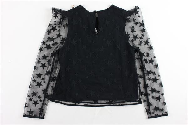 camicia tinta unita con maniche in velo ELISABETTA FRANCHI | Camicie | EFCA69NERO
