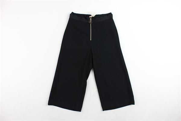 pantalone vita alta a palazzo tinta unita ELISABETTA FRANCHI | Pantaloni | EFPA23NERO