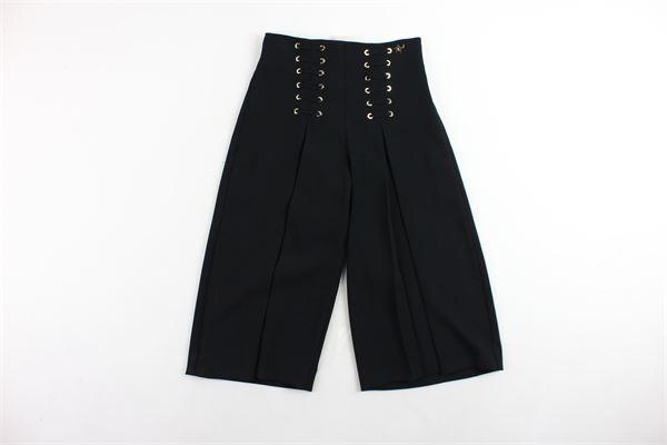pantalone vita alta a palazzo tinta unita ELISABETTA FRANCHI | Pantaloni | EFPA28NERO