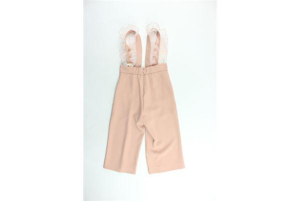 pantalone vita alta a palazzo con bretelle tinta unita ELISABETTA FRANCHI | Pantaloni | EFPA35ROSA