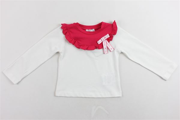 shirt manica lunga in cotone collo in contrasto con rouge ELISABETTA FRANCHI | Shirts | EGTS14BIANCO