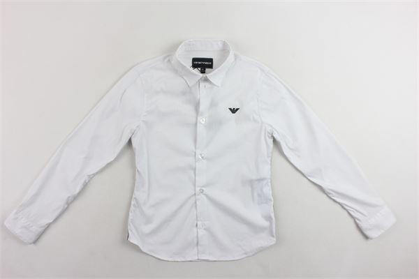 camicia manica lunga in cotone tinta unita con logo EMPORIO ARMANI | Camicie | 6G4CJ2AN34ZBIANCO