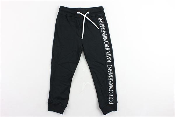 pantalone tuta elastico in vita tinta unita con profili loggati EMPORIO ARMANI | Pantaloni | 6G4PJ83J2VZNERO