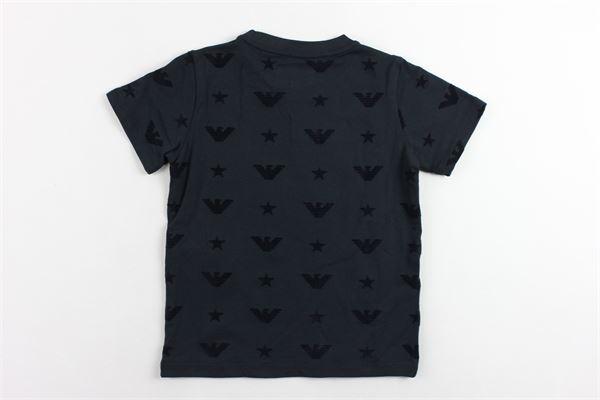 t-shirt mezza manica tinta unita con stampa logo EMPORIO ARMANI | T-shirts | 6G4TF31JPTZBLU