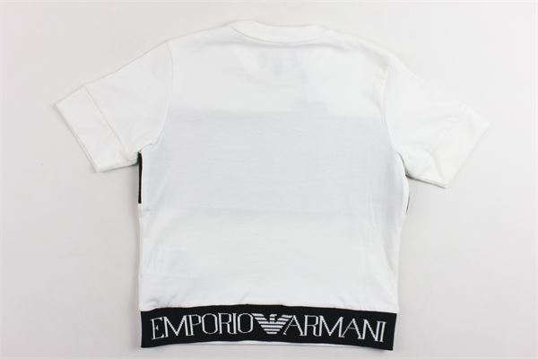 t-shirt mezza manica tinta unita con stampa EMPORIO ARMANI | T-shirts | 6G4TJ34J2PZBIANCO